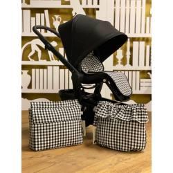 Colchoneta para silla Joolz HUB Petra Negro La Giraffa Bianca e Blu