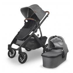 Carrito de bebé dúo UPPAbaby VISTA V2 Greyson (Mezcla carbón - Detalle cuero)