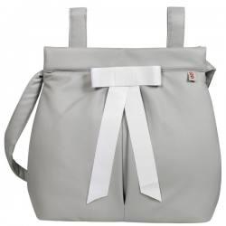 Bolso panera Ágata gris lazo blanco
